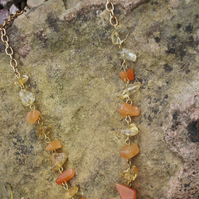 Orange glass chip necklace
