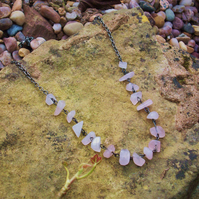 Pale pink glass chip necklace