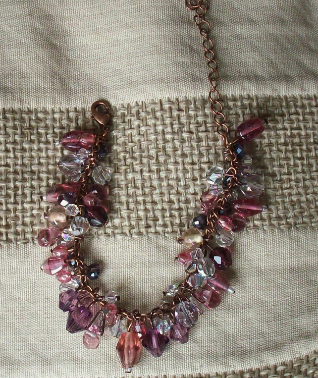 Pink & purple beaded bracelet