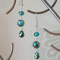 Green droplet earrings