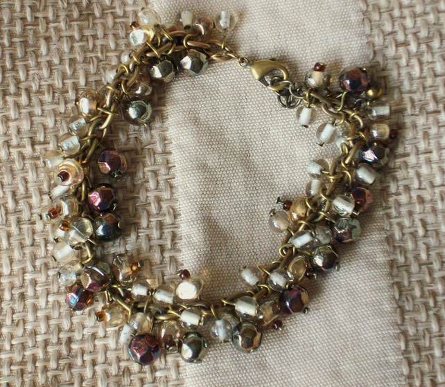 Sale- Brown Glass Beaded Bracelet
