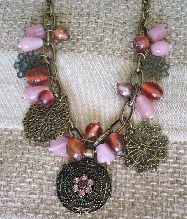 Sale- Pink charm necklace
