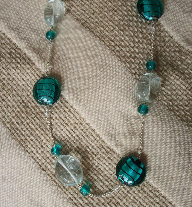 Sale- Aqua swirl necklace