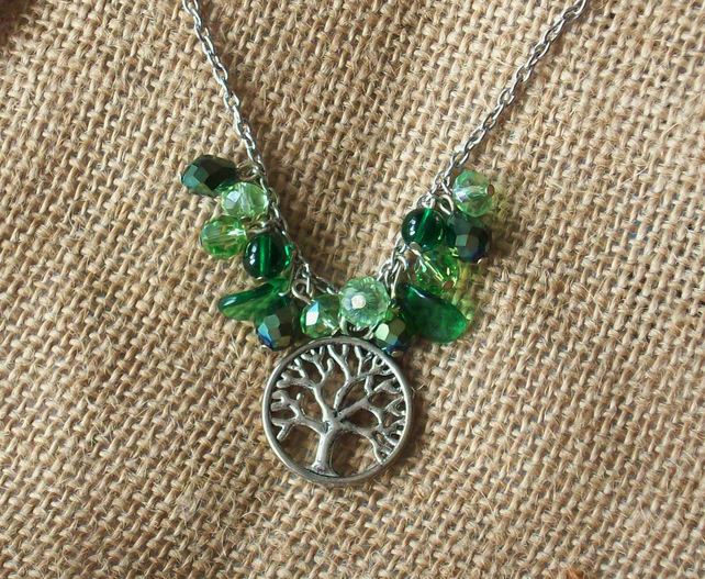 Spring green necklace with tree pendant