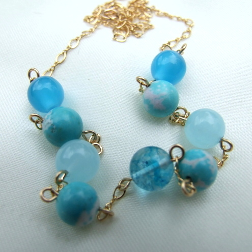 Aqua Semi Precious and 14ct Rolled Gold Necklace