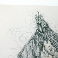Mr Cockerel Pen and Ink Illustration 10x8 Limited Edition