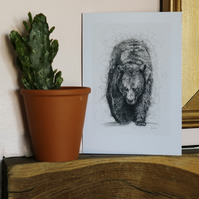Grizzly Bear, A5 Large Greeting Card