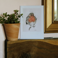 Robin, A5 Large Greeting Card