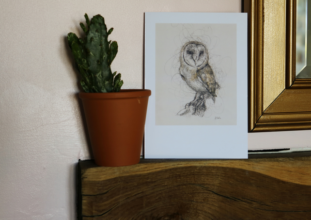 Owl, A5 Large Greeting Card