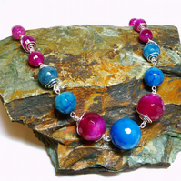 Pink and Blue wire wrapped faceted agate necklace