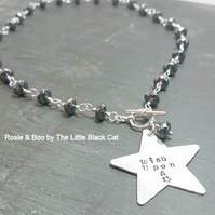 Hematite 'Wish Upon A Star' pendant Gemstone Necklace