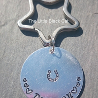 'Trot On' Horse Shoe Hand Stamped Keyring