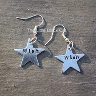 'Wish' Star Hand Stamped Earrings