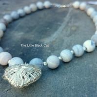 'Love Rocks' Pale Blue Matte Agate Necklace with Caged Heart Pendant