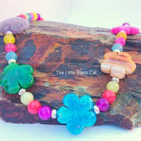 'Flower Power' Multi Colour Agate Gemstone Necklace