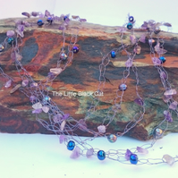 'Mermaids Net' Crocheted Wire Necklace with amethyst and pearls