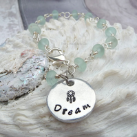 Sea Glass Wire Wrapped 'Dream' Stamped Bracelet