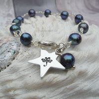 Blue Freshwater Pearl Wire Wrapped Dragonfly Star Bracelet