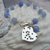 Blue Agate Wire Wrapped 'Love' Heart Stamped Bracelet