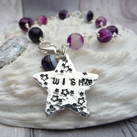 Purple Agate Wire Wrapped 'Wish' Star Stamped Bracelet