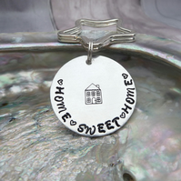 'Home Sweet Home' Hand Stamped Keyring