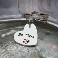 'Be Mine' Hand Stamped Heart Keyring
