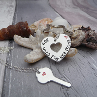 'You hold the key to my heart' Hand Stamped Keyring and Pendant set OFFER