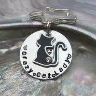 'Crazy Cat Lady'  Hand Stamped Keyring with cat charm