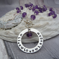 Amethyst Wired Gemstone Necklace with 'Live Love Laugh' Pendant