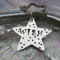 'Wish' Hand Stamped Star Keyring
