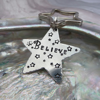 'Believe' Hand Stamped Keyring