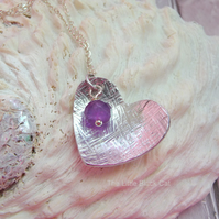 Textured Heart Pendant with Amethyst