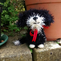 Colin the black and white Border Collie pup, crochet soft toy, cuddly dog, plush
