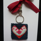 Blue wool felt keyring or bag charm with red and pink applique heart