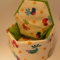 Padded Fabric Covered Hexagon Box