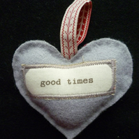 Grey Woollen 'Good Times' Hanging Heart
