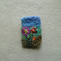 Felted Silk Garden Brooch