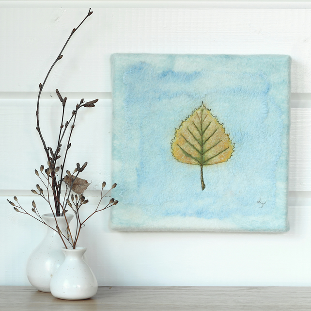 Golden Birch Leaf - hand felted textile art