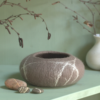Taupe Grey Felt Striped Pebble Bowl - hand felted textile art