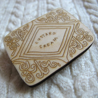 Wooden Custard Cream brooch