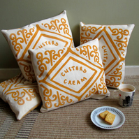Custard Cream Screen-Printed Cushion