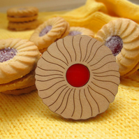Wooden Jam Ring Brooch
