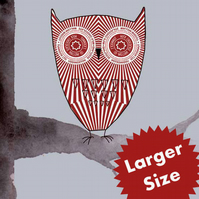 Large Size - Tunnock's Teacake Owl - Original Digital Print