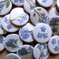 "Pressed Flower ""Borage"" Mini Pin Badge"