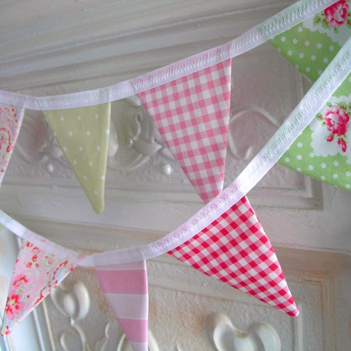 Small green & pink cotton bunting