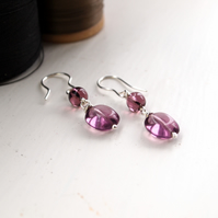 Silver Earrings With Purple Glass Drops
