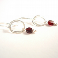 January Birthstone Garnet and Sterling Silver Earrings