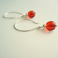 SALE Orange SIlver Hoop Earrings
