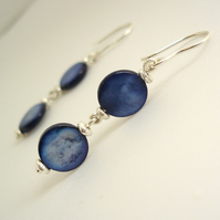 Shell Blue Dropper Earrings