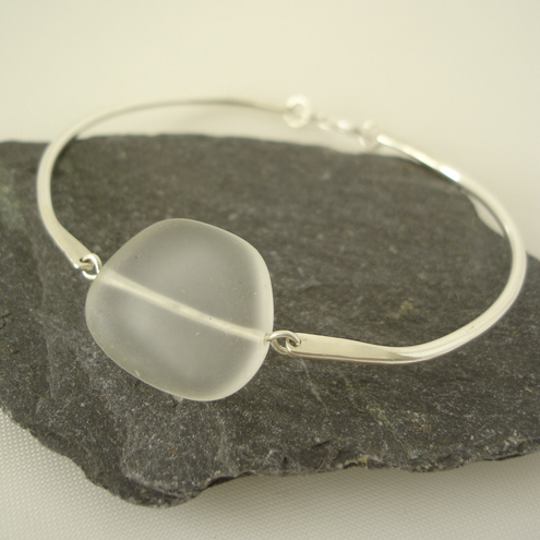 seaglass bracelet in clear